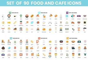 Set mit 90 Food- und Party-Ikonen vektor