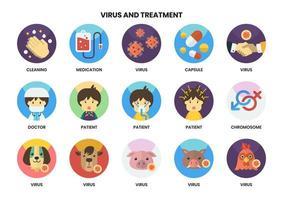 uppsättning av 15 mediciner och andra behandlingsikoner vektor