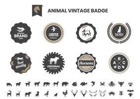 vintage badge set med alligator och andra djur