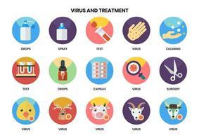 uppsättning av 15 handtvätt och andra virusikoner