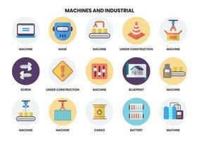 Satz von 15 industriellen themenbezogenen Maschinenikonen