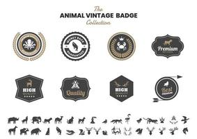 vintage badge set med bläckfisk och andra djur vektor
