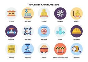 Set mit 15 Batterien und anderen industriellen Symbolen vektor