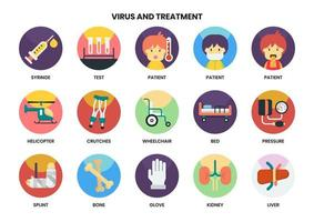 Set mit 15 Rollstuhl- und anderen Behandlungssymbolen