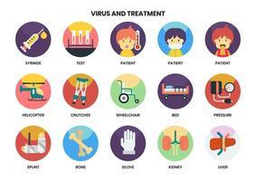 uppsättning av 15 rullstolar och andra behandlingsikoner