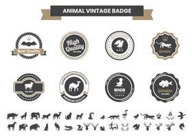 vintage badge set med fladdermus och andra djur vektor