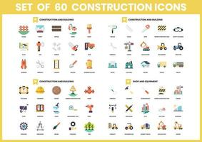 Set mit 60 Bau- und Ausrüstungssymbolen vektor