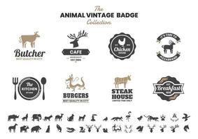 vintage badge set med kyckling och andra djur vektor