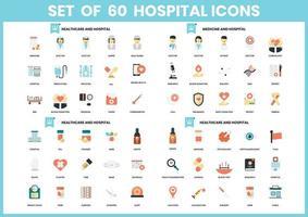 Satz von 60 Medizin- und Krankenhausikonen vektor