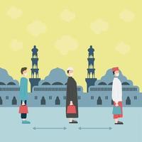 ramadan affisch med människor social distancing vektor