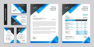 schwarz und blau Dreieck Design Branding Set vektor