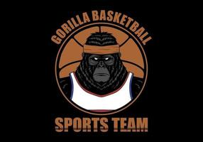 Illustration av gorilla för basketspelare