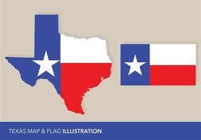 Texas Flagga och Map Vectors