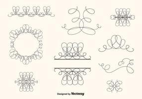 Handgezogener Curly Swirl Vektor Set