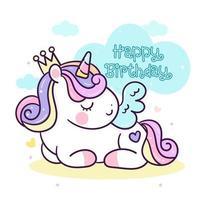 söt ponny enhörning tecknad födelsedagskort vektor