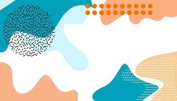 blaue, pfirsichfarbene und weiße bunte fließende Formen entwerfen