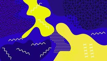blå och gul vätska memphis bakgrund