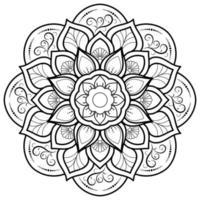cirkulär blommamandala på vitt