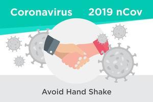 Vermeiden Sie Händeschütteln, um ein Coronavirus-Poster zu verhindern