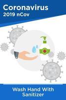 Plakat der Reinigung der Hände mit Händedesinfektionsmittel