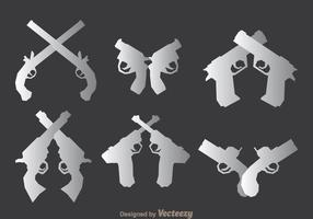 Waffenpistolen Icons Set vektor