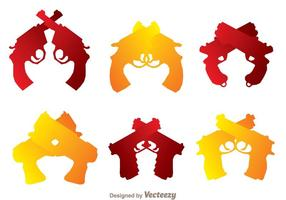Gekreuzte Handwaffen Icons vektor