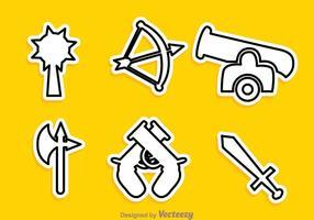 Verschiedene Vektor Waffe Outline Icons