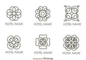 Blumenverzierung Hotel-Logo-Vektoren vektor