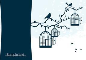 Fåglar på gren med Birdcage Vector