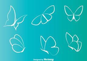 Vita fjärilar linje ikoner vektor