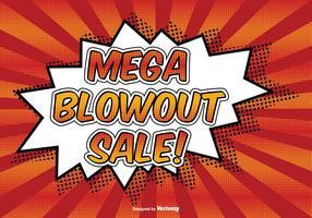 Mega blowout försäljning komisk stil illustration vektor