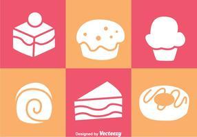 Kuchen weiße Ikonen vektor