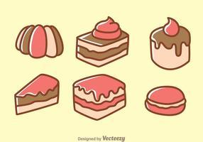Kuchen Cartoon Icons vektor
