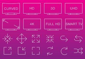 Video & Multimedia Dünne Icons vektor