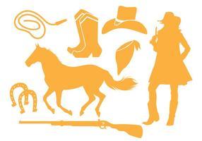 Cowgirl siluett vektorer