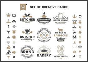 Vintage braun und schwarz Café, Bäckerei oder Metzger Logos gesetzt