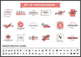 röda och vita logotyper för bloggare och modedesign vektor