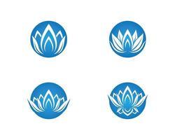 blaue runde Blume Icon Set vektor