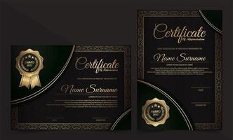Luxus Schwarz und Gold Zertifikat Vorlage