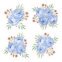 Blumenstrauß mit Rosenblumenaquarellsatz vektor
