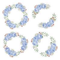 akvarell blå ros blomma krans ram samling