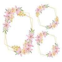 rustikaler Blumenrahmen des Aquarells mit Lilienblumensatz vektor