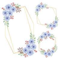 rustikaler Blumenrahmen Aquarellrosenblumenanordnungssatz vektor
