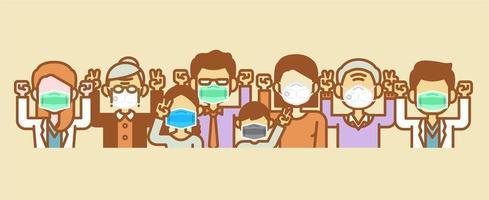 Menschen mit medizinischer Maske bleiben stark