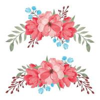 handgemaltes aquarellrotes Blumenstraußenset vektor