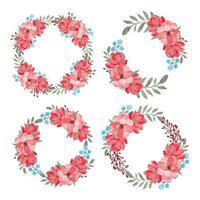 akvarell vacker blomma cirkel ram samling uppsättning