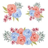 akvarell färgglada rosa och blå ros blomma bukett uppsättning