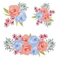 Aquarell buntes rosa und blaues Rosenblumenstraußenset vektor