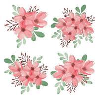 akvarell våren körsbärsröd blomma bukett set vektor