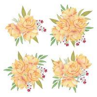 gul lotusblomma bukett akvarell samling